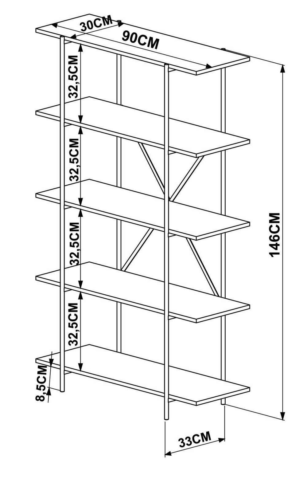 Estante Kea 5 Prateleiras Cor Vermont Estrutura Preto Fosco 90cm (Larg) - 56394