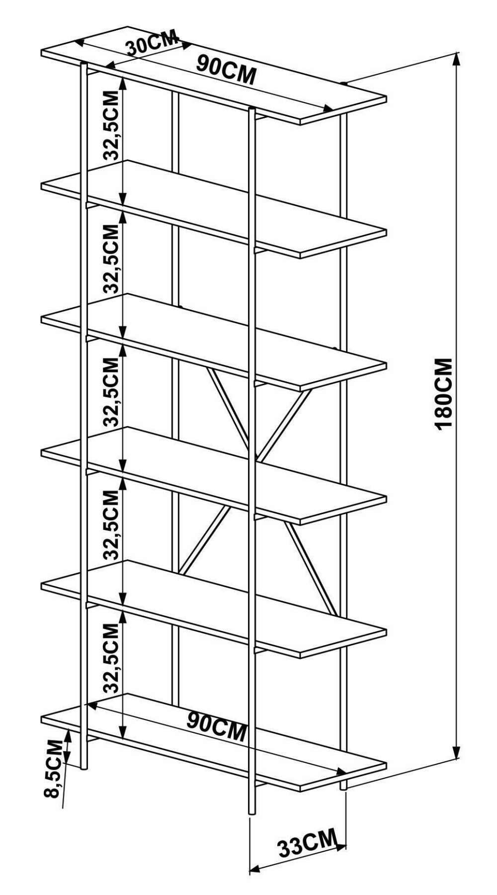 Estante Kea 6 Prateleiras Cor Vermont Estrutura Cobre 90cm (Larg) - 57082
