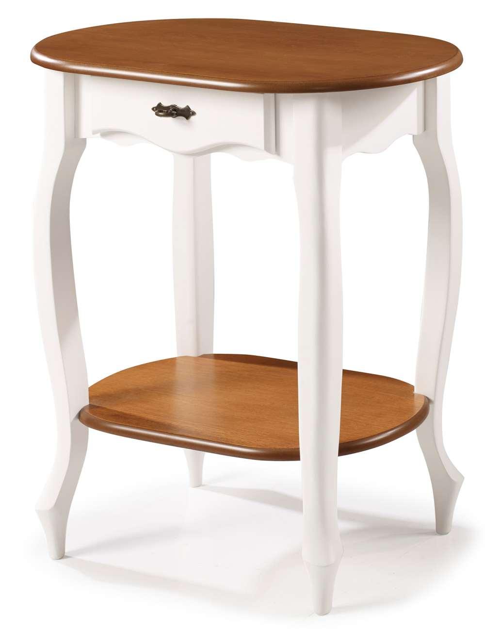 Aparador Oval Elegance Branco Com Imbuia Pes Luiz XV 70cm (Larg) - 58858