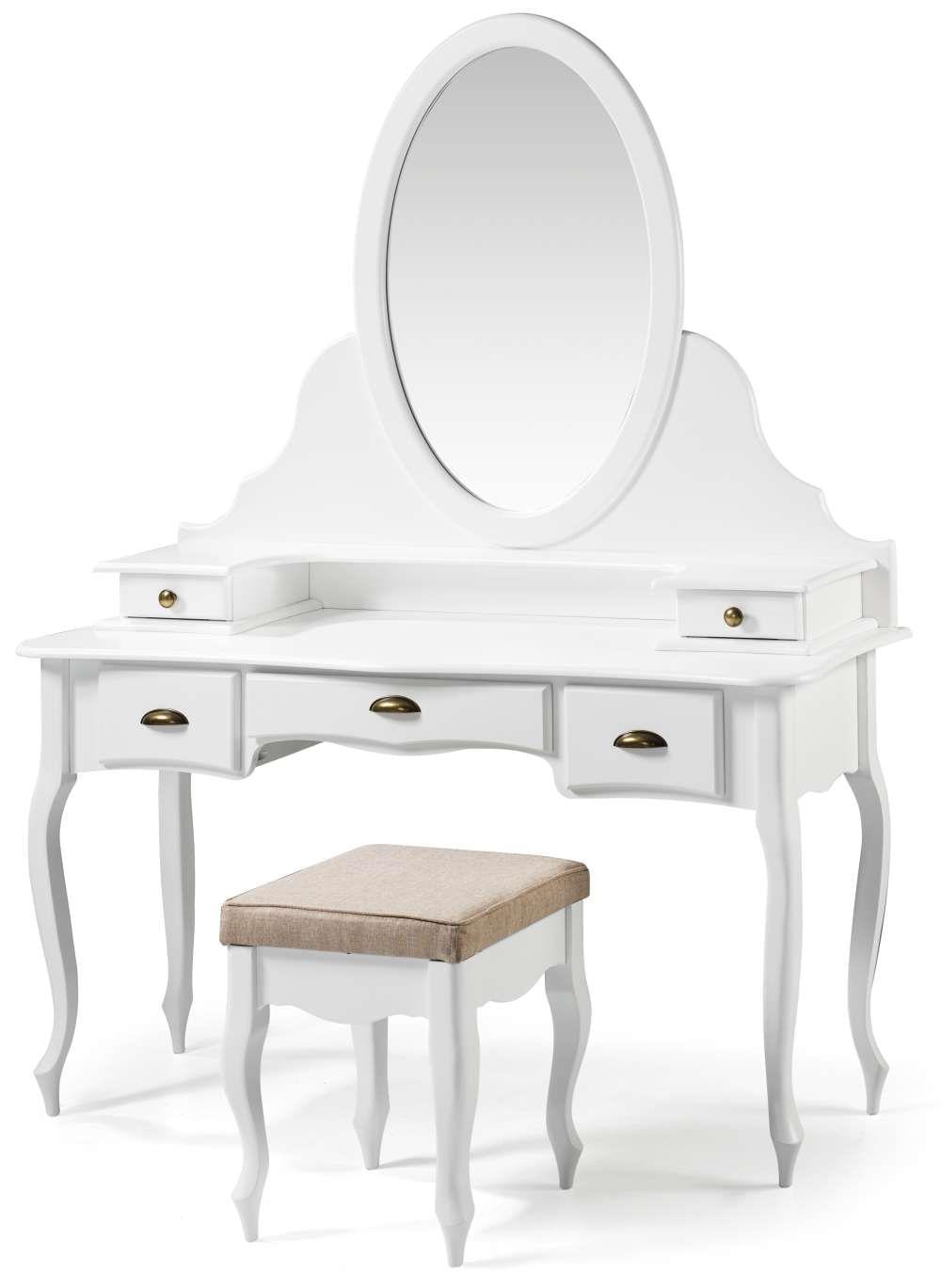 Penteadeira Elegance Laca Branca Com Banqueta Linho Bege Pes Luiz XV - 58863