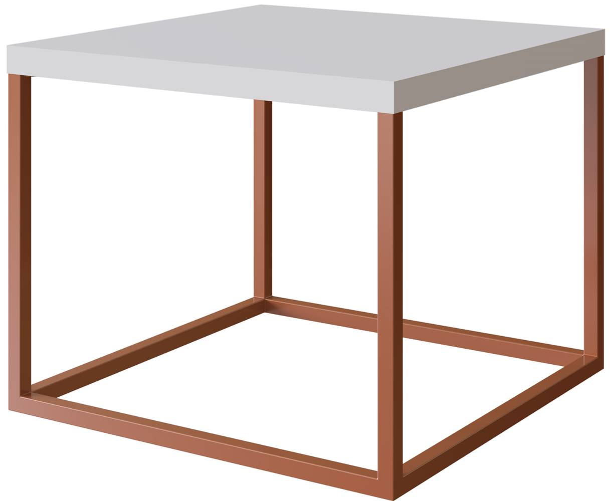 Mesa Centro Cube Branca Base Aco Cobre 0,32 cm (ALT) - 58935