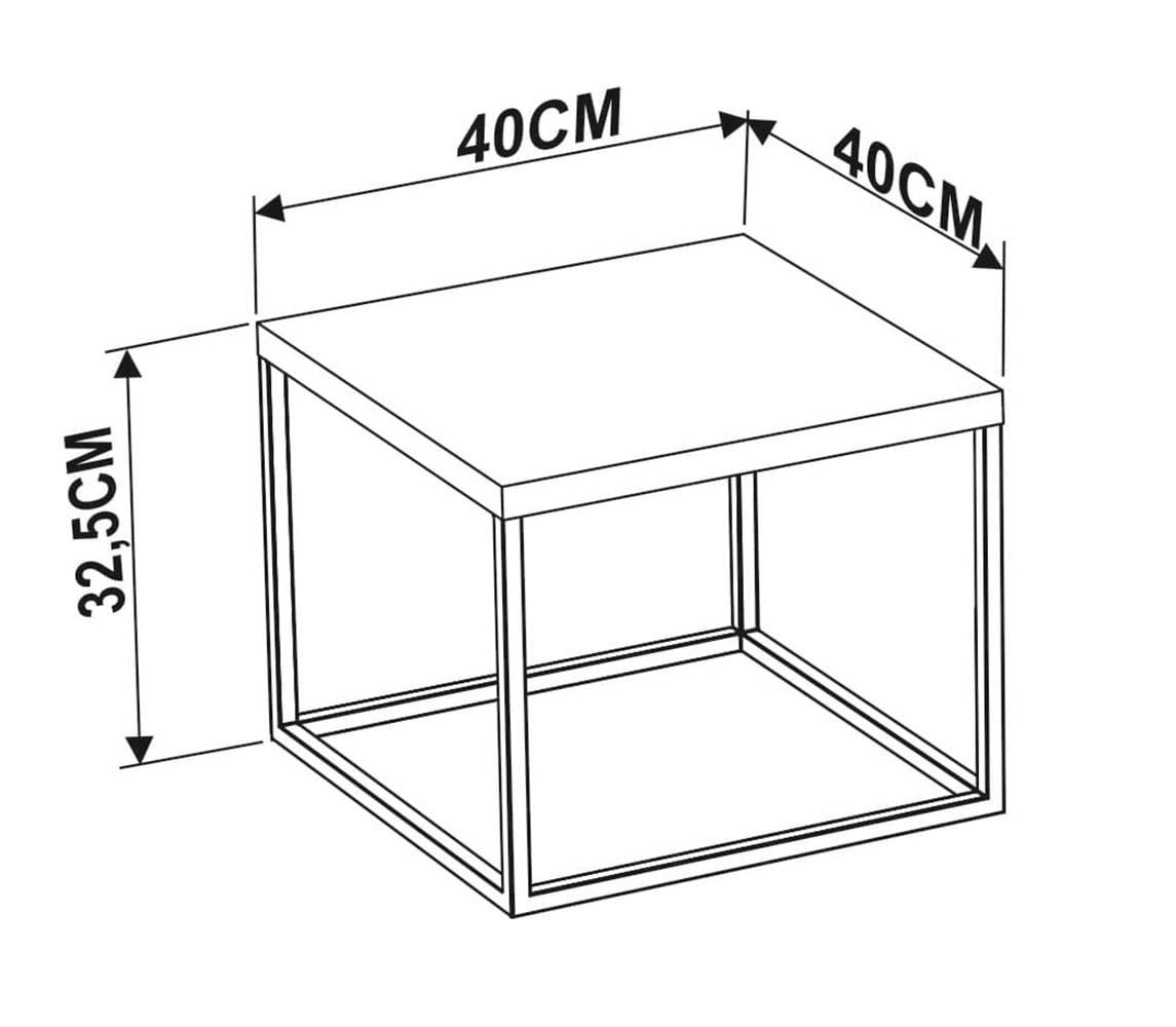 Mesa Centro Cube Thassos Aco Preta 0,32 cm (ALT) - 58978