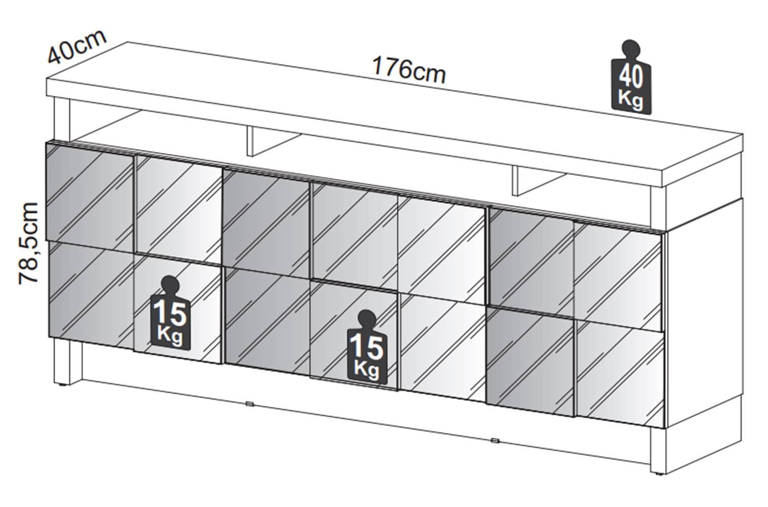 Buffet Delos Quadriculado cor Freijo com Off White 1,76 MT (LARG) - 59045