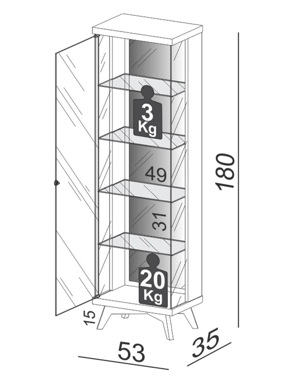 Cristaleira Espelhada Retro Argos com Led cor Off White com Freijo 1,80 MT (LARG) - 59047