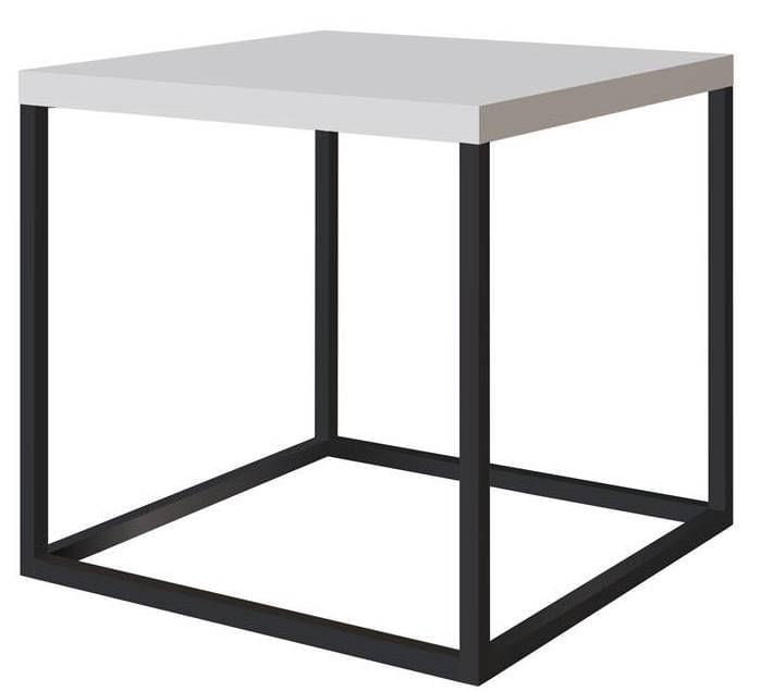 Mesa Centro Cube Branco Aco Preta 0,38cm (ALT) - 58997