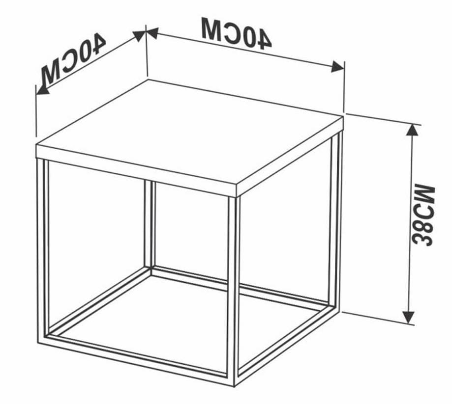 Mesa Centro Cube Vermont Base Aco Preta 0,38cm (ALT) - 59017