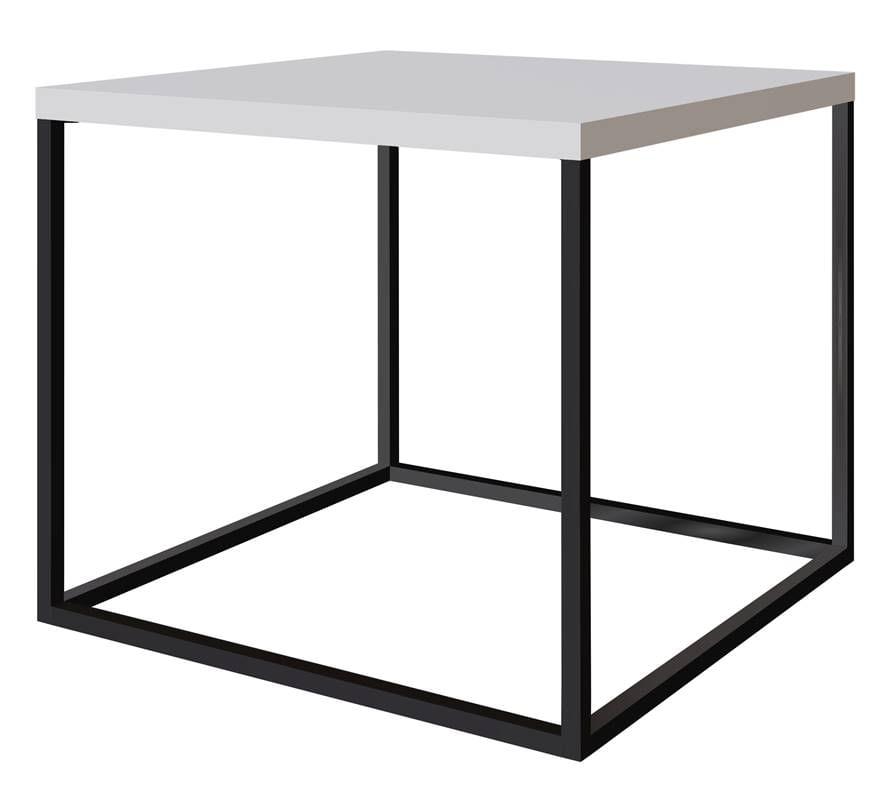 Mesa Centro Cube Branco Aco Preta 0,43 cm (ALT) - 59058