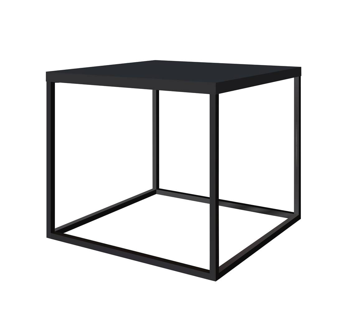 Mesa Centro Cube Preta Base Aco Preta 0,43 cm (ALT) - 59062