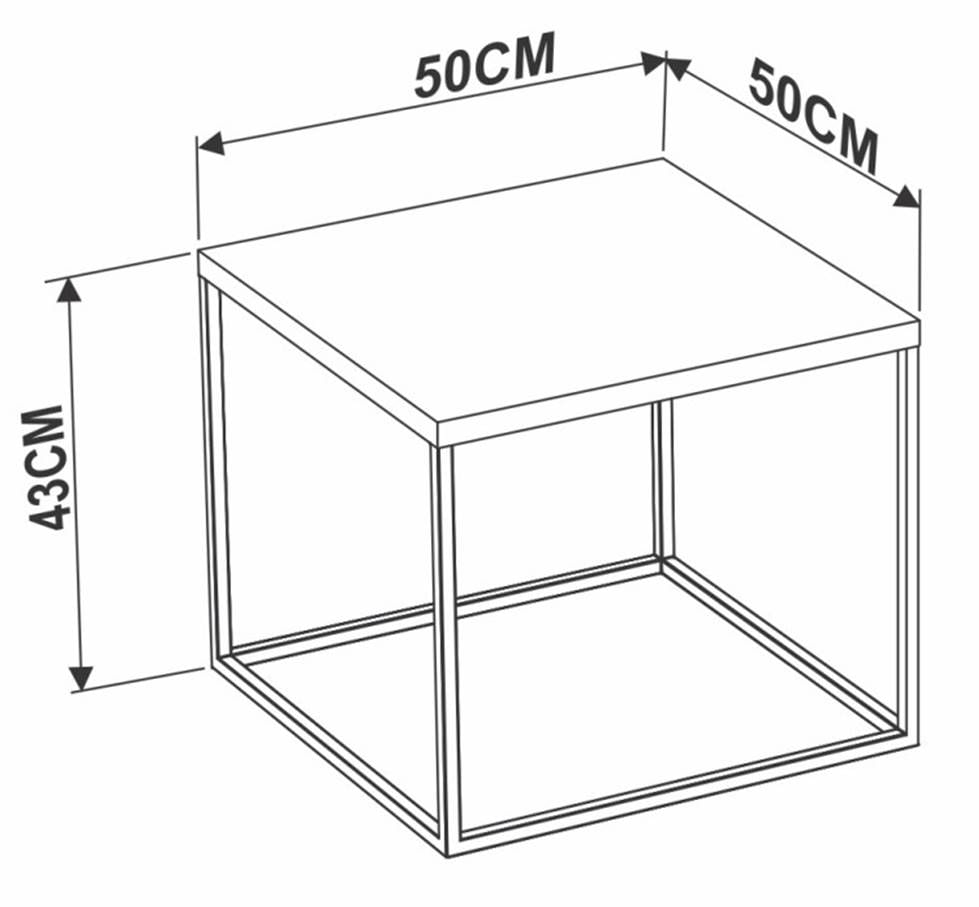 Mesa Centro Cube Marquina Base Aco Preta 0,43cm (ALT) - 59070