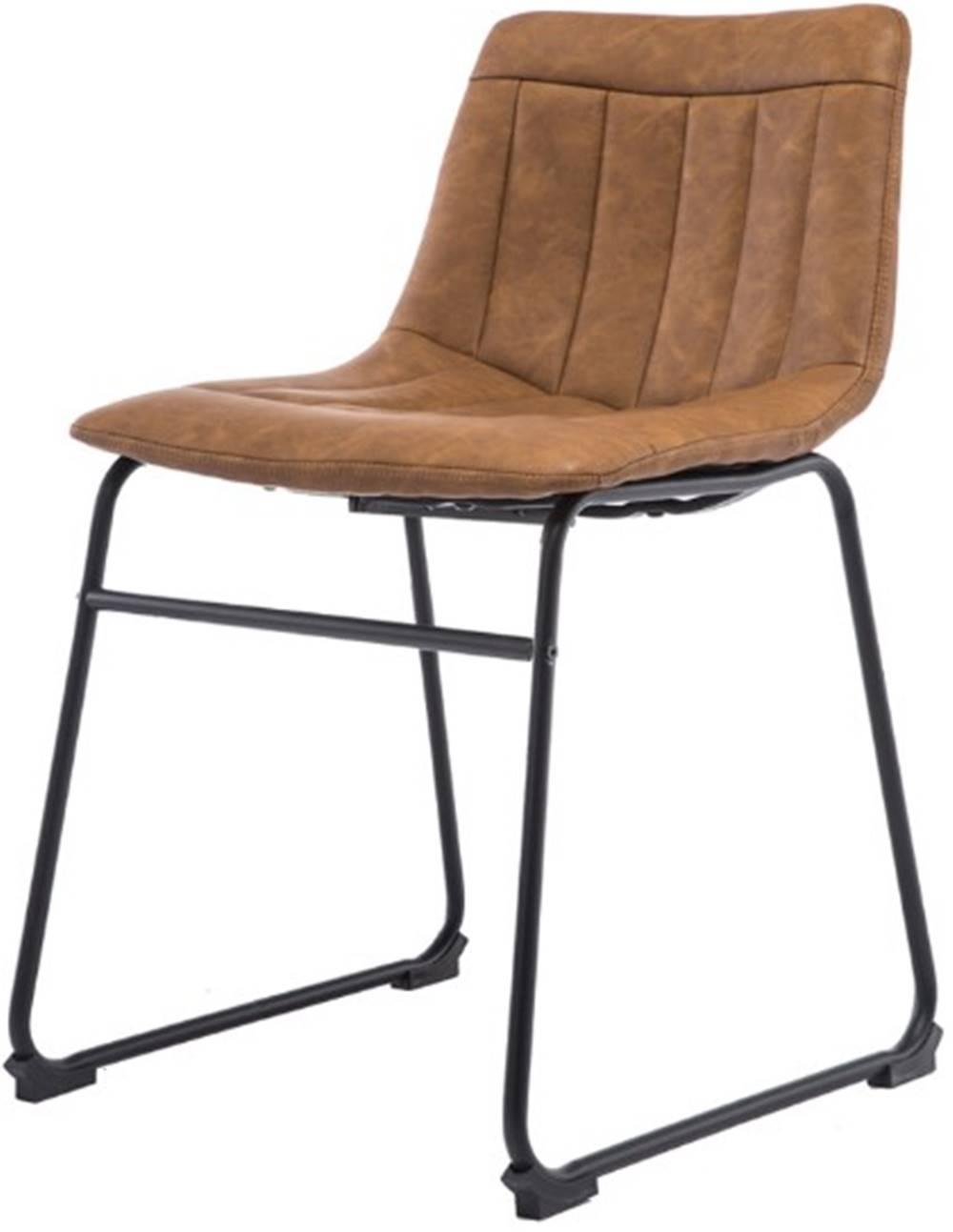 Cadeira Tamara Assento Courino Marrom com Base Aco Preto - 47345