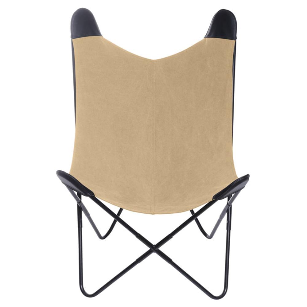 Poltrona Butterfly Estrutura em Ferro com Assento em Canva cor Marrom - 53516