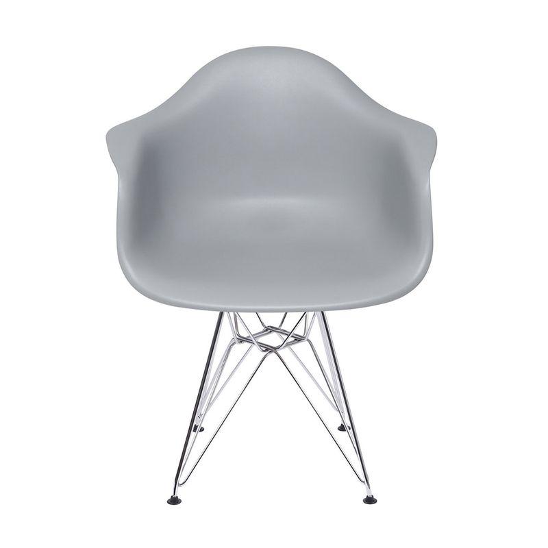 Cadeira Eames com Braco Base Cromada Cinza Fosco - 43635