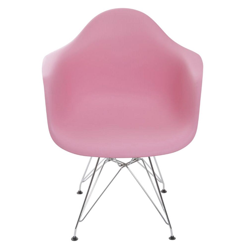 Cadeira Eames com Braco Base Cromada Rosa - 59138