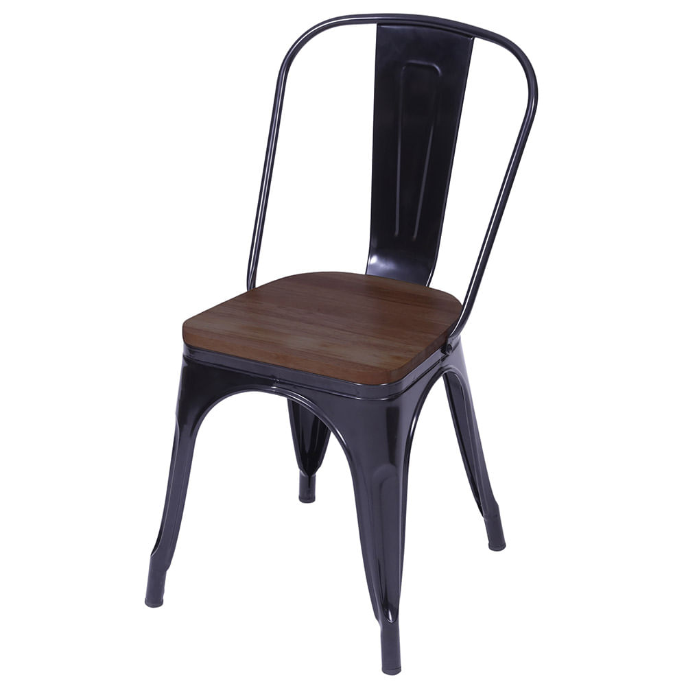 Cadeira Iron com Assento em Madeira cor Preta - 59146