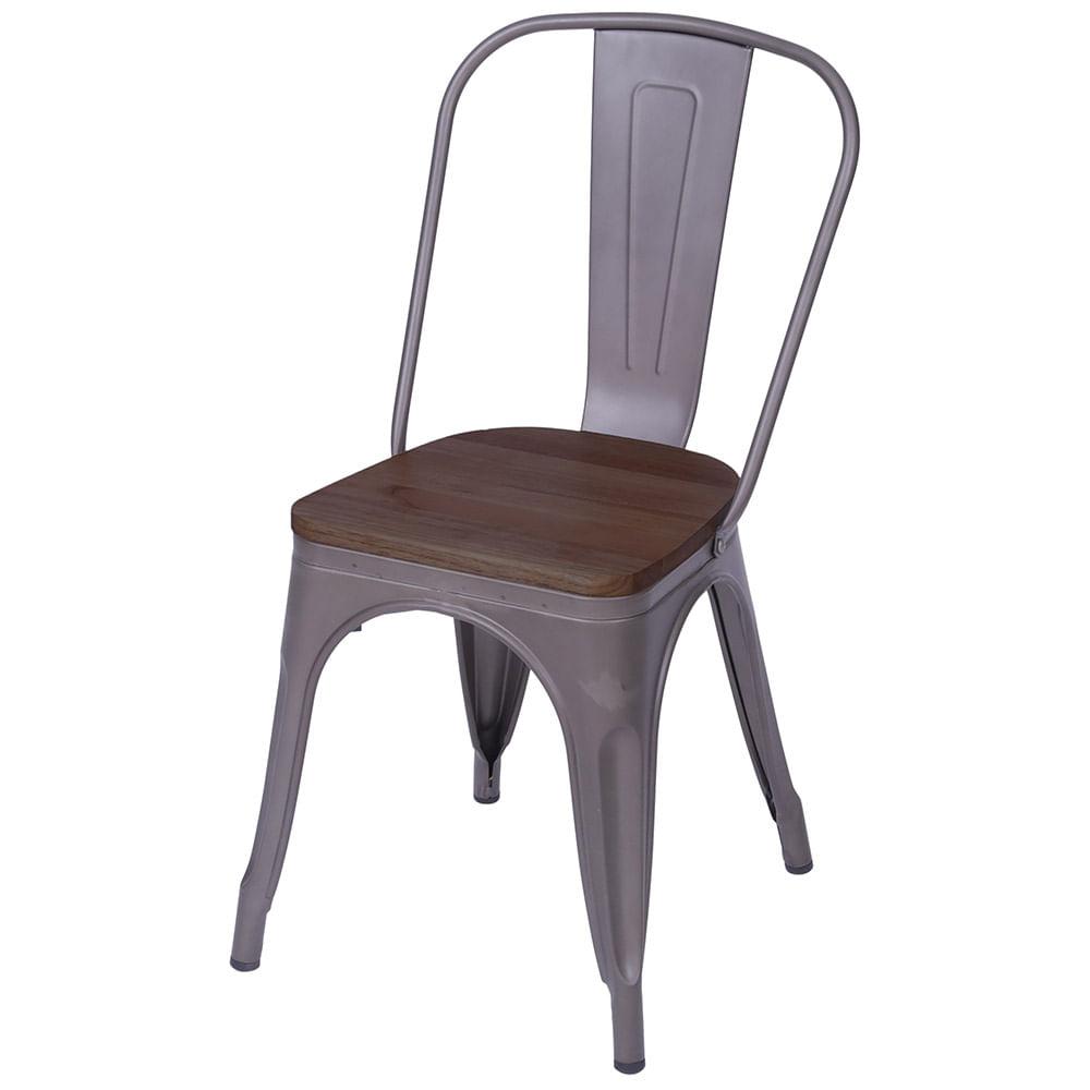 Cadeira Iron com Assento em Madeira cor Bronze - 59147