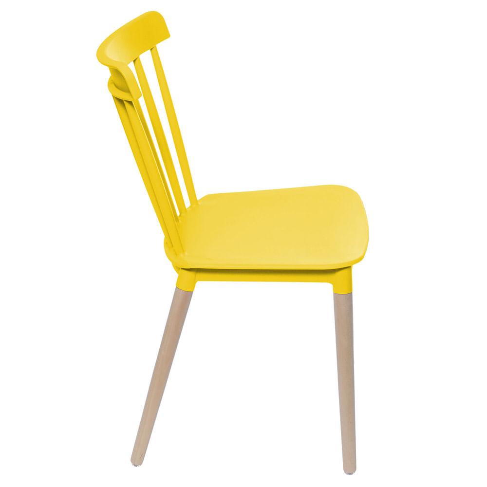 Cadeira Jana Polipropileno cor Amarela  Base Madeira - 53758