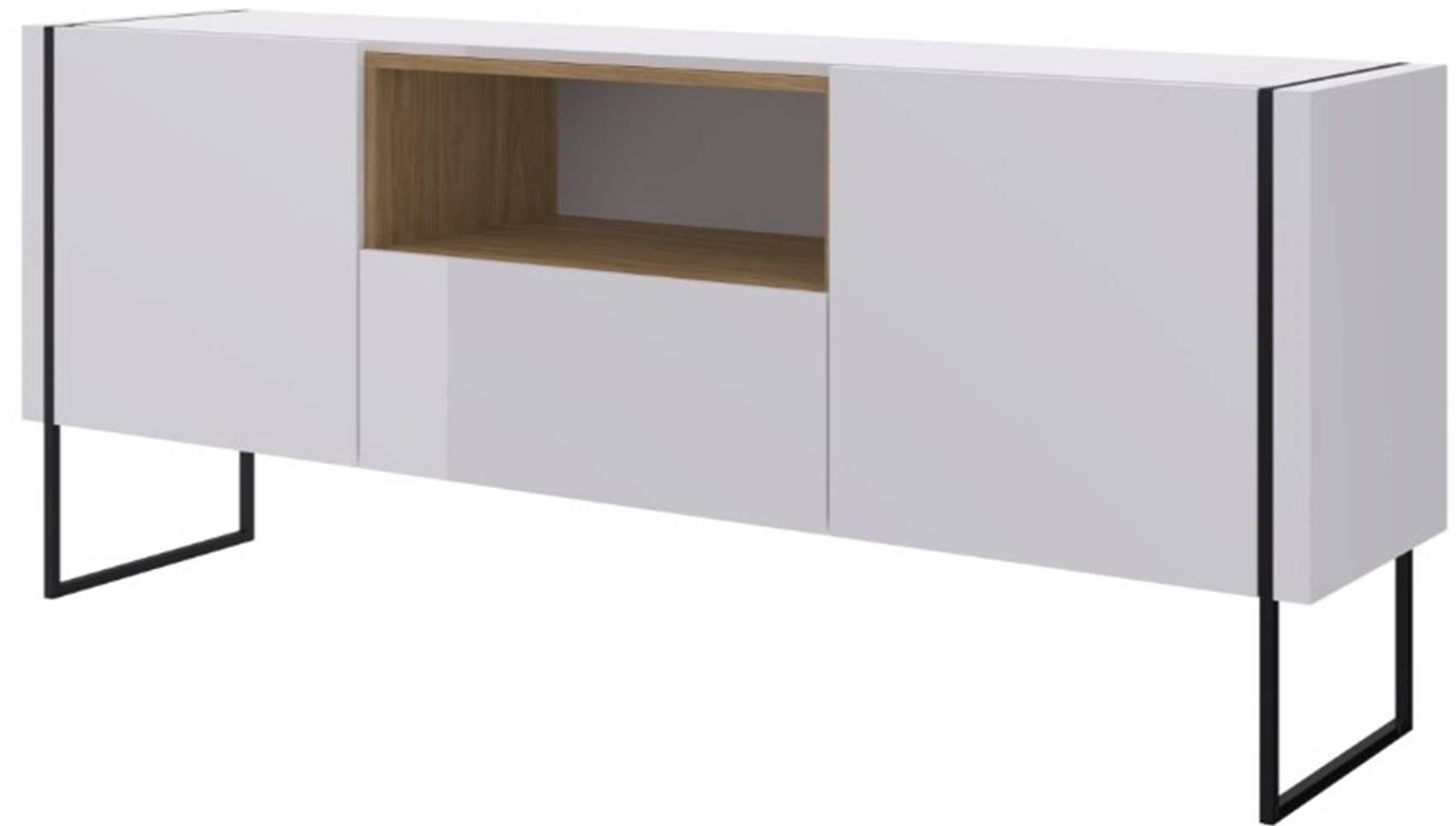 Buffet Radaelli Branco Estrutura Preta Acabamento Hanover 1470mm - 59165