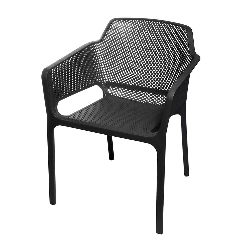 Cadeira Net Nard Empilhavel Polipropileno com Braco cor Preta - 53567