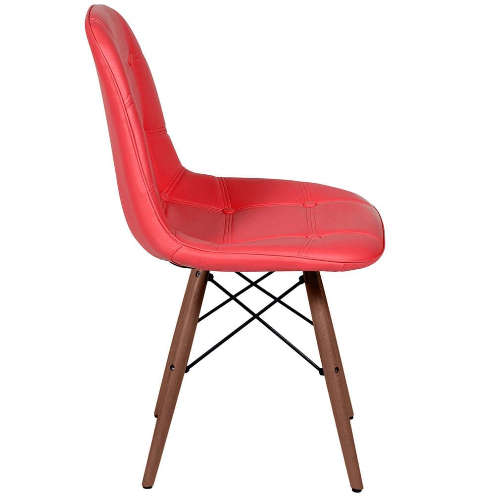 Cadeira Eames Botone Vermelha Base Escura - 44873