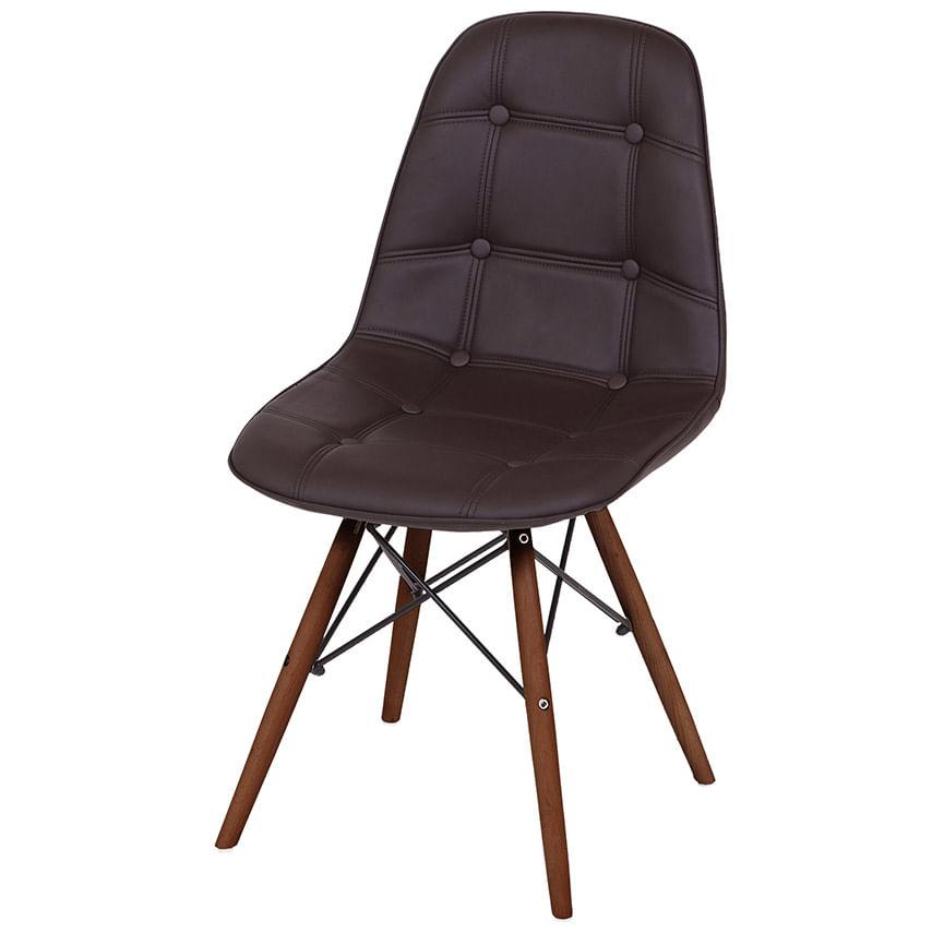 Cadeira Eames Botone Marrom Base Escura - 44874