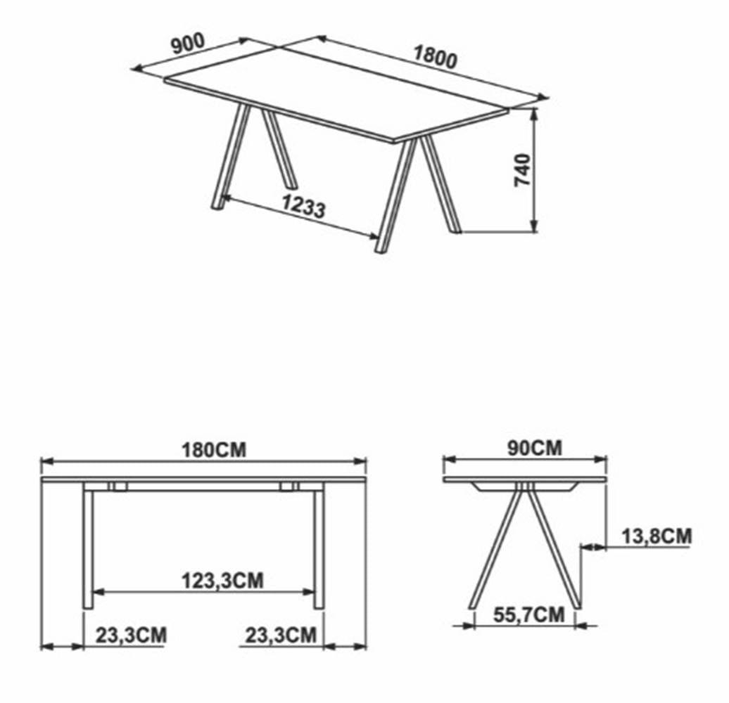 Mesa de Jantar Arbeloa Thassos Estrutura Preta 180cm - 59246
