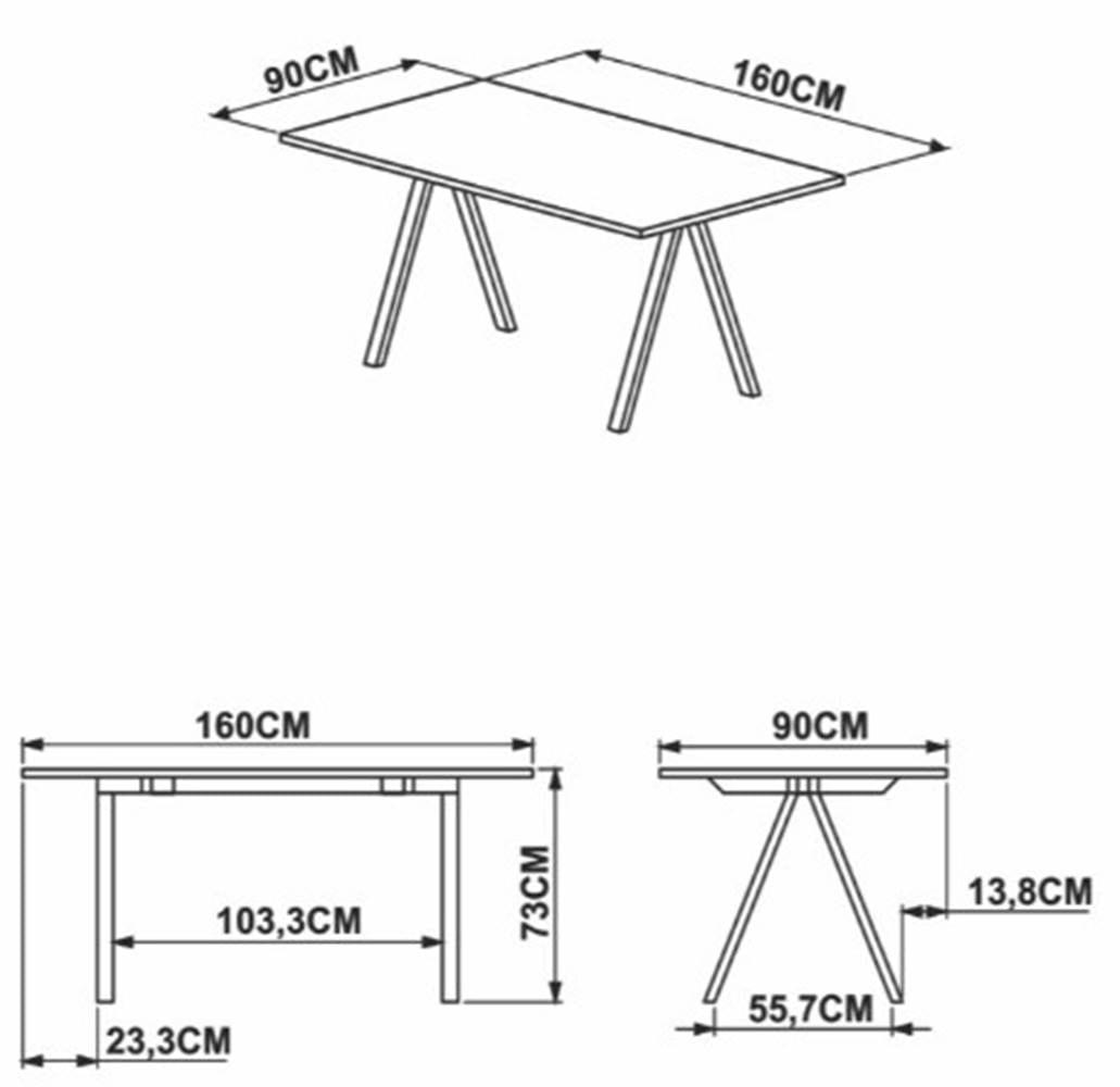 Mesa de Jantar Arbeloa Thassos Estrutura Preta 160cm - 59251