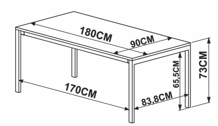 Mesa de Jantar Piemonte Marquina Estrutura Cobre 180cm - 59264