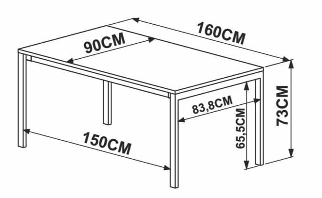 Mesa de Jantar Piemonte Vermont Estrutura Preta 160cm - 59265