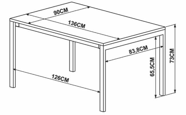 Mesa de Jantar Piemonte Marquina Estrutura Cobre 136cm - 59271