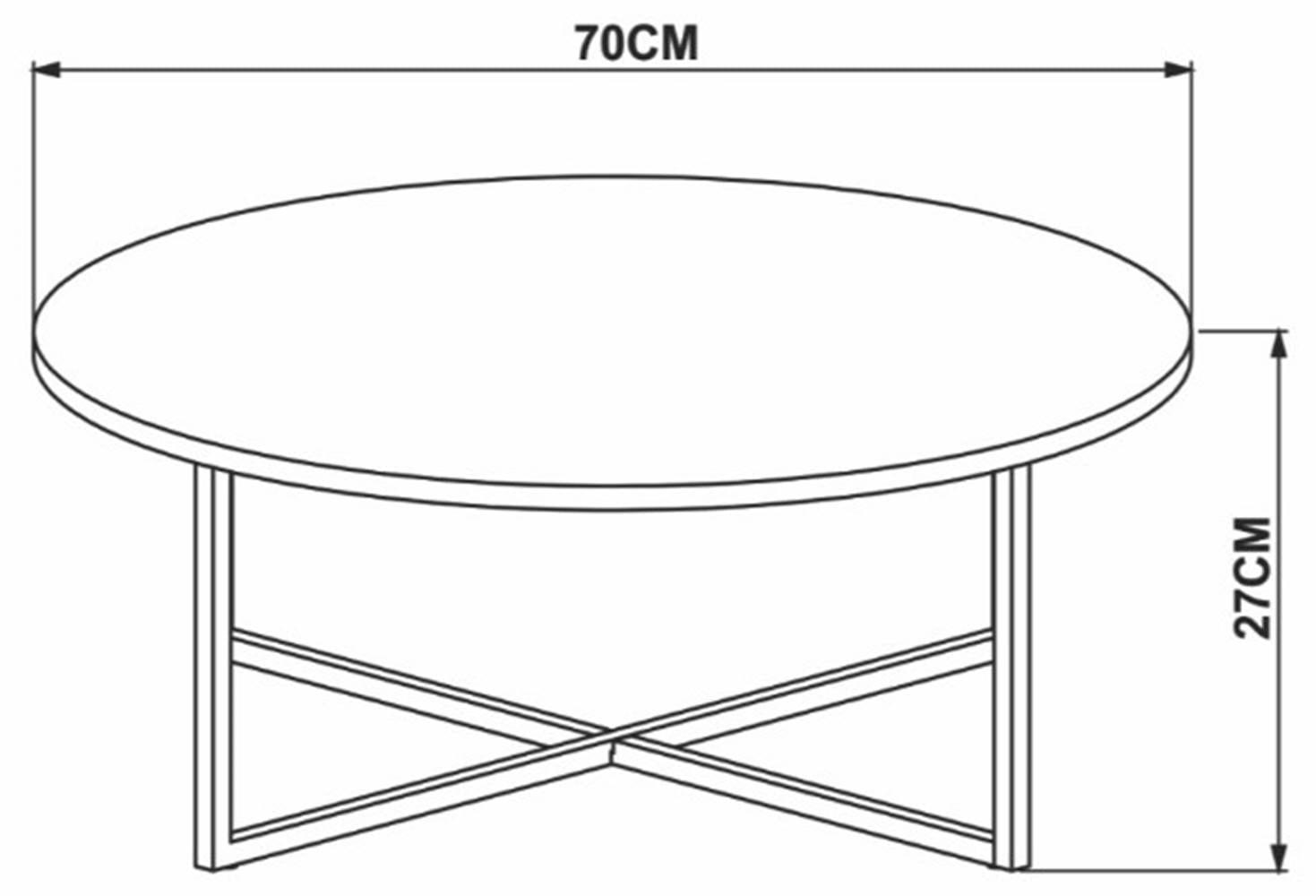 Mesa Centro Doha Marquina Estrutura Preta 70cm - 59272