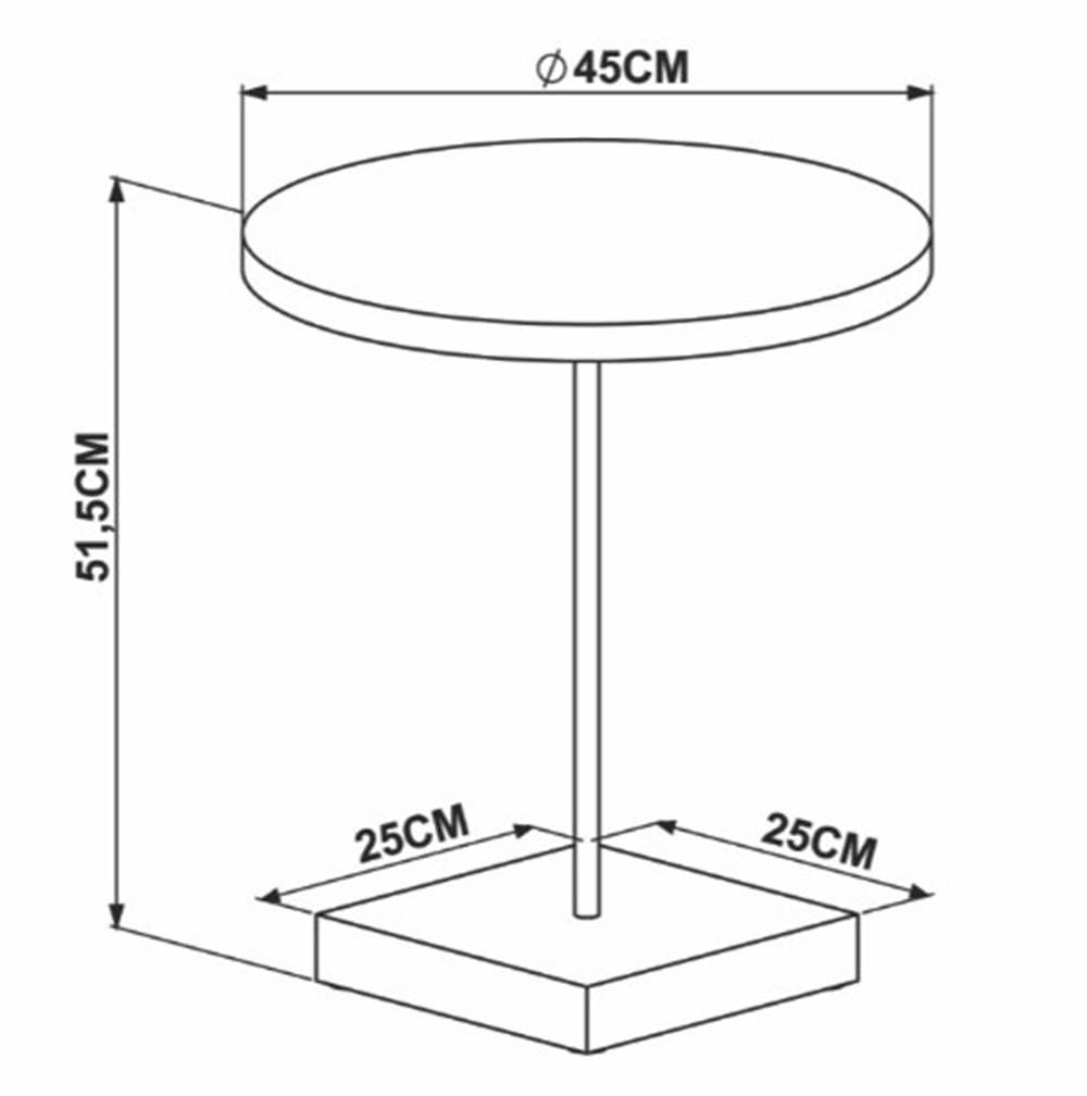 Mesa Lateral Cadiz Marquina Estrutura Preta 51cm - 56372