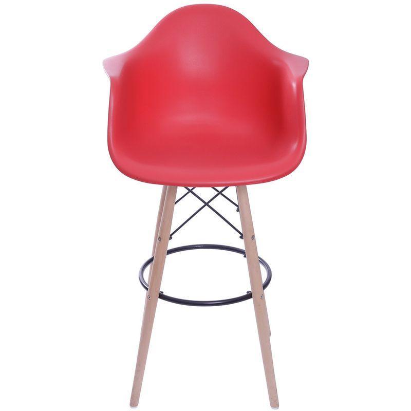 Banqueta-Eames-Polipropileno-com-Braco-Vermelha-Base-Madeira---59335
