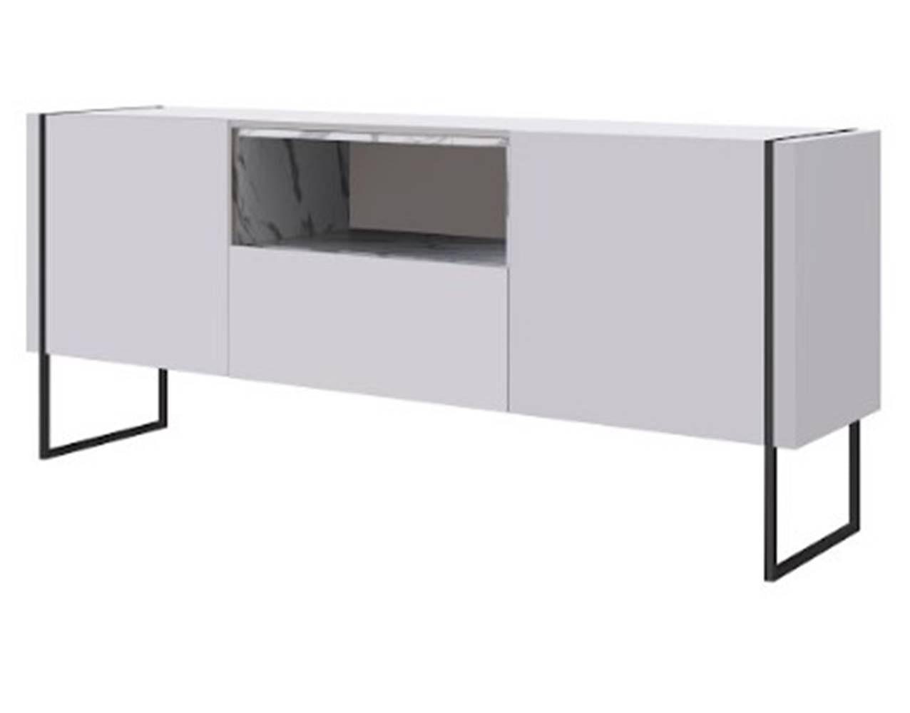 Buffet Radaelli Branco Estrutura Preta e Acabamento Thassos 1470mm - 59160
