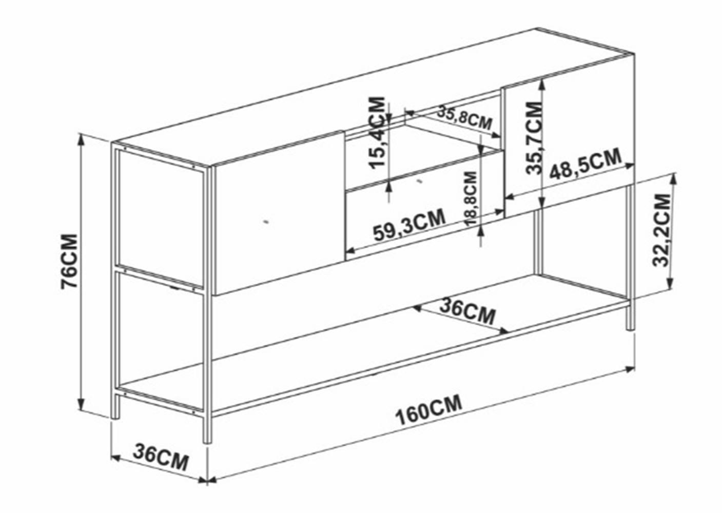 Balcao Buffet Vermont Estrutura Cobre 160cm - 59368