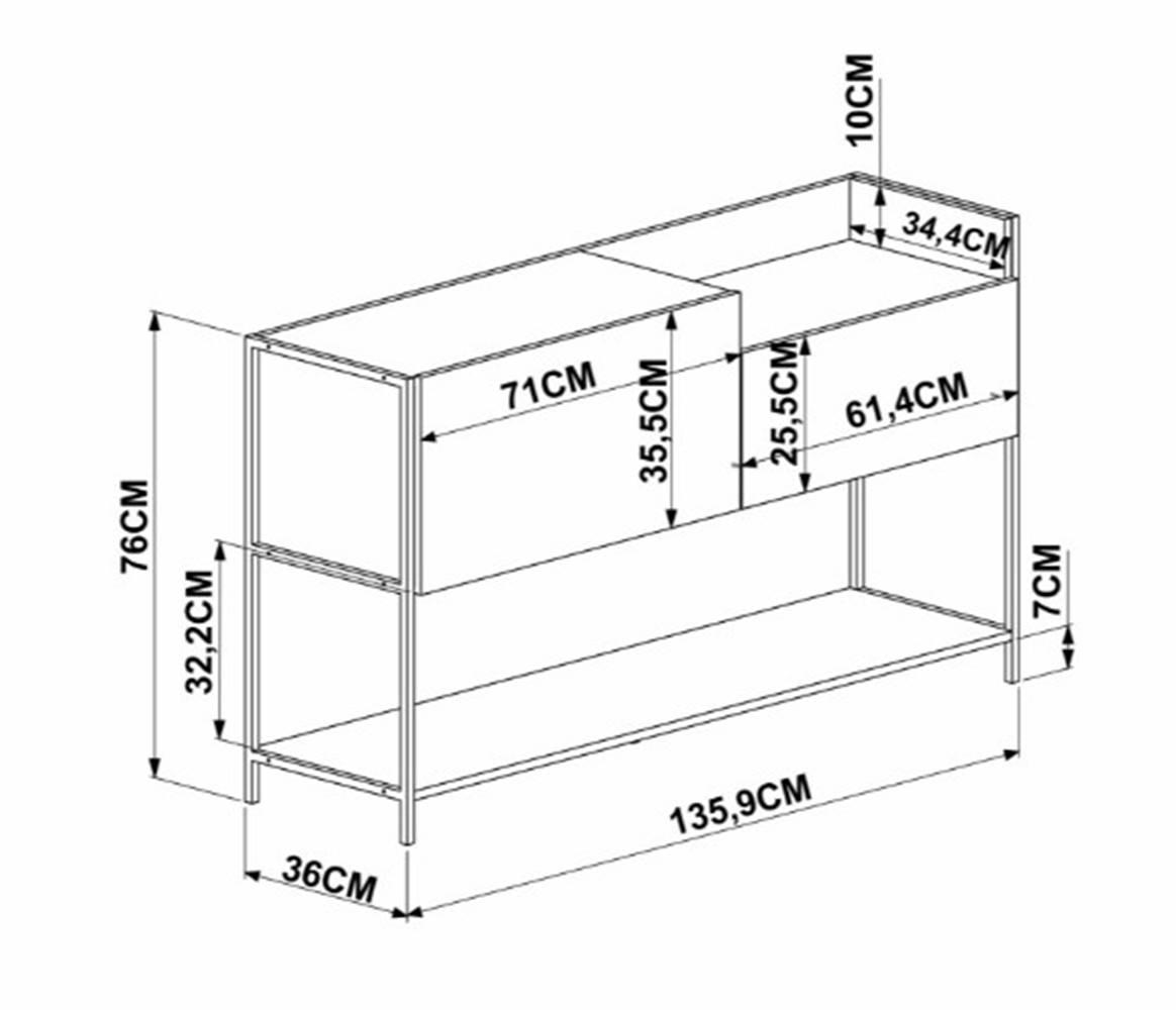 Balcao Buffet Vermont Estrutura Preta 136cm - 59369