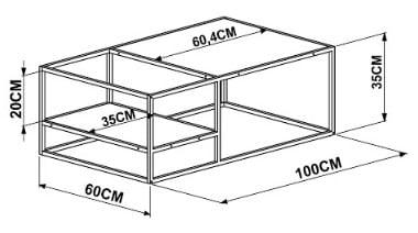 Mesa Centro Tieppo Vermont Estrutura Preta 100cm - 57061