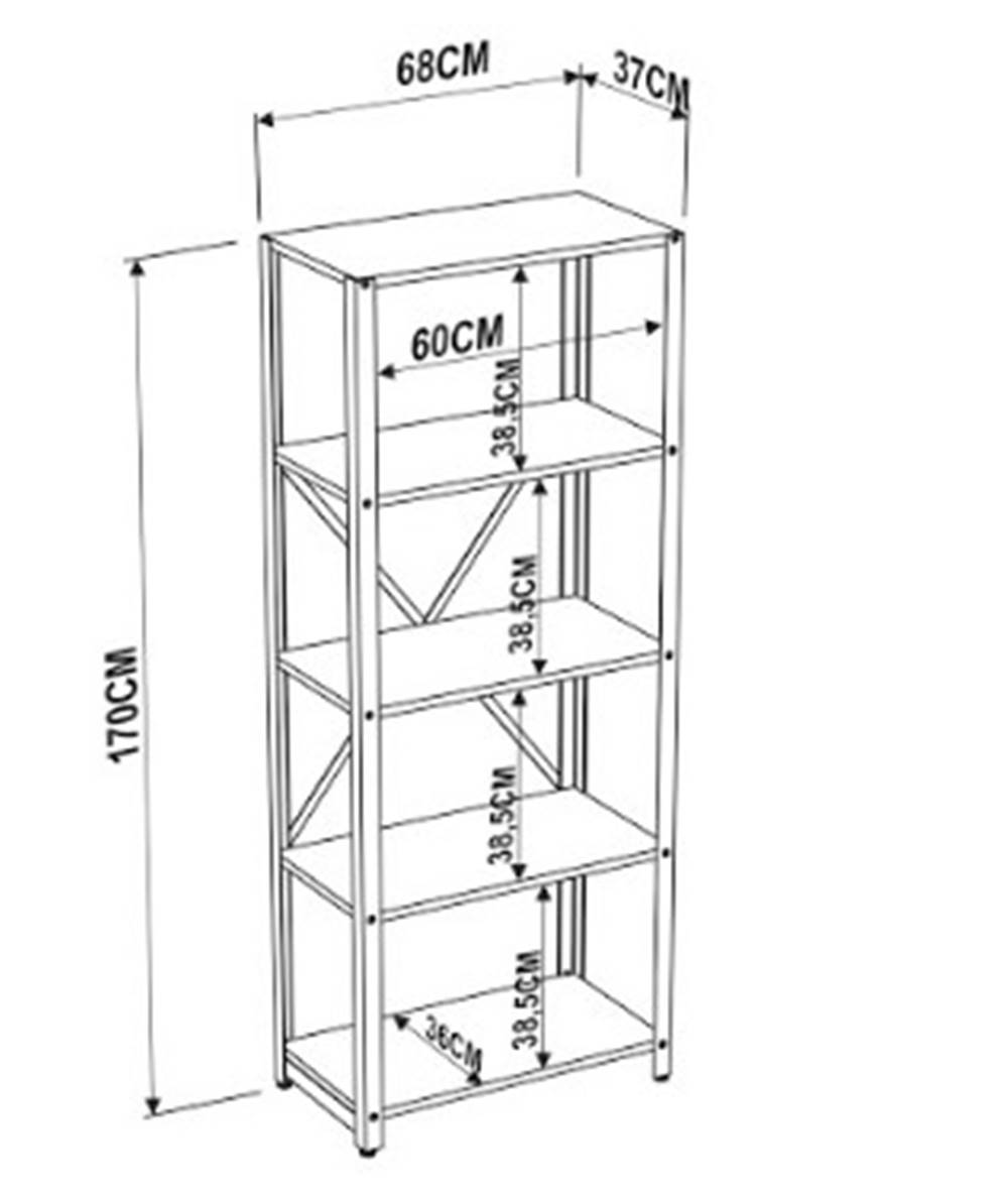 Estante Vermont Estrutura Preta 170cm - 57309