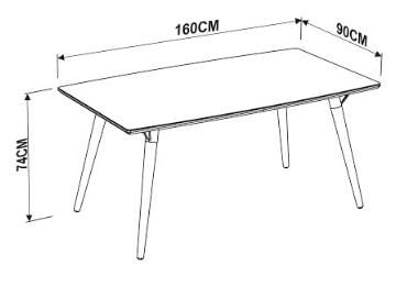 Mesa Jantar Forino Tampo Branco Base Escura 160cm - 59430