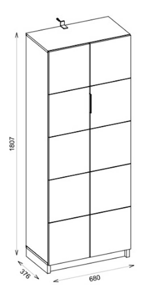 Armario Alto Dobe Cinza Acabamento Buriti 180cm - 59447