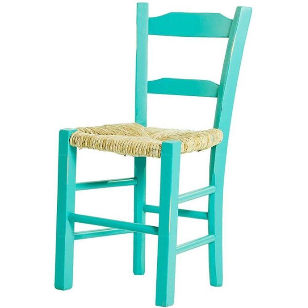 Kit 4 Cadeiras Lagiana Pequenas Eucalipto Turquesa Assento Palha - 59467