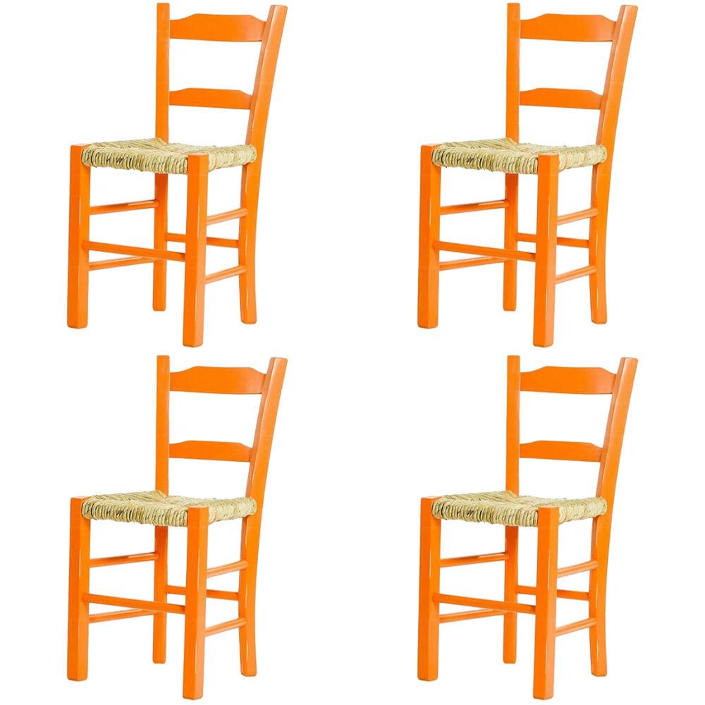 Kit 4 Cadeiras Lagiana Pequenas Eucalipto Laranja Assento Palha - 59471