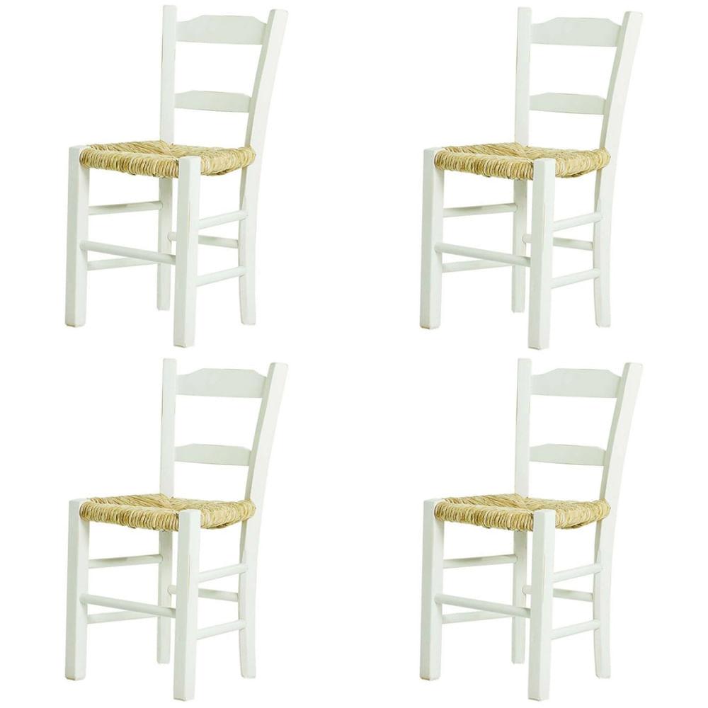 Kit 4 Cadeiras Lagiana Pequenas Eucalipto Branca Assento Palha - 59472