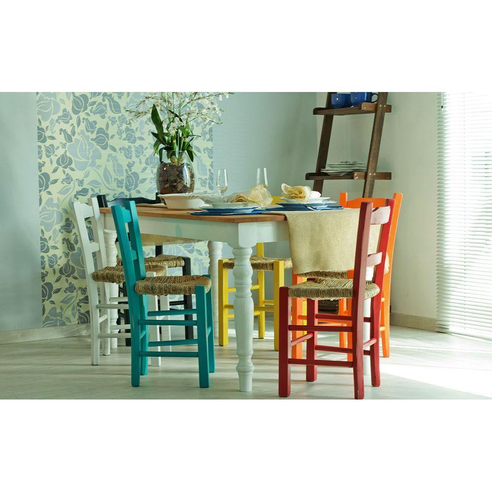 Kit 4 Cadeiras Lagiana Pequenas Eucalipto Azul Assento Palha - 59473