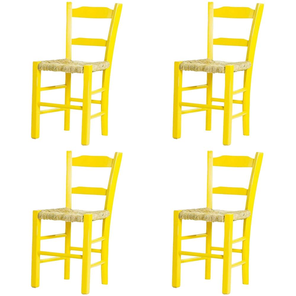 Kit 4 Cadeiras Lagiana Pequenas Eucalipto Amarela Assento Palha - 59474
