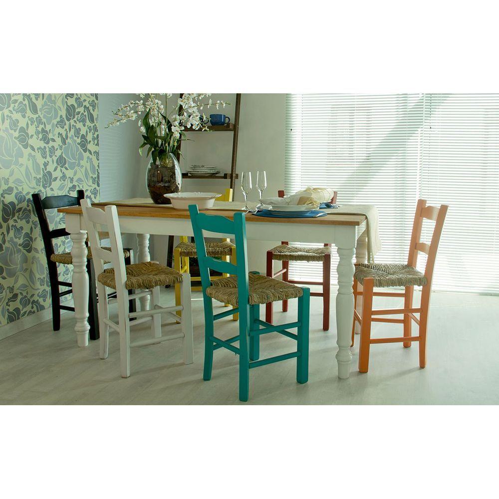 Kit 4 Cadeiras Lagiana Pequenas Eucalipto Coloridas B Assento Palha - 59485