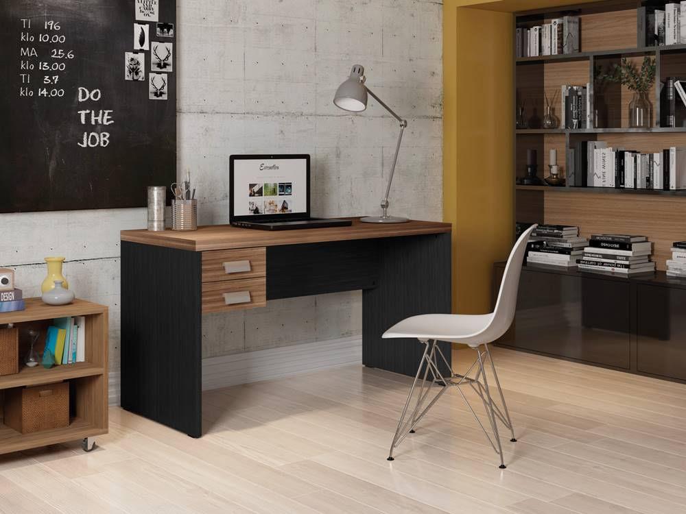 Mesa Office Berruezo Argan C/ Gaveteiro Acabamento Preto 136cm - 59496