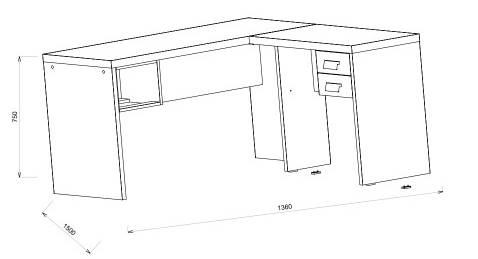 Mesa Office Berruezo em L C/ Gaveteiro Argan Acabamento Preto 150cm - 59500