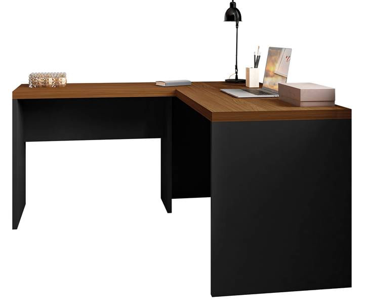 Mesa Office Berruezo em L Nogueira Caiena Acabamento Preto 150cm - 59536