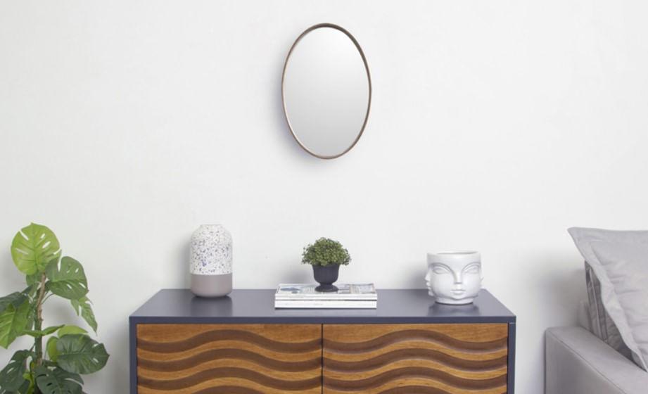 Espelho Logue Oval Pequeno Pinhao 35cm - 53128