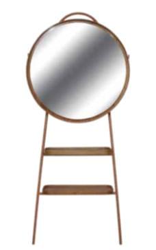 Cabideiro Lili Espelho Prata Revestido em Louro Freijo Base Cobre 185cm - 59597